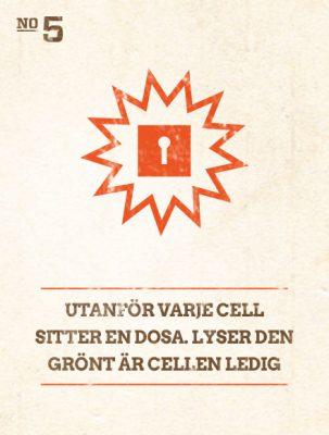 Utanför varje cell sitter en dosa. Lyser den grönt är cellen ledig.
